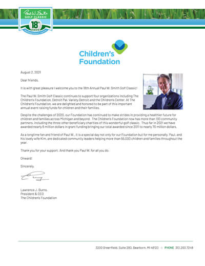 Children Foundation welcome letter with Paul W Smith golf header