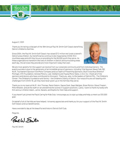 Paul W Smith thank you letter image